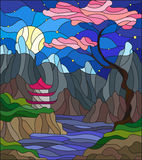 Casa japonesa da paisagem da ilustração do vitral no fundo, nas montanhas e nos rios do céu com flores de cerejeira Imagem de Stock