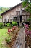 Casa larga de la tribu de Iban en Sarawak, Borneo Foto de archivo libre de regalías
