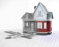 casa in legno 3D su una griglia con gli strumenti di disegno con la metà dentro Immagini Stock