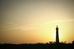 Casa ligera de Hatteras en la puesta del sol Foto de archivo libre de regalías