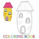 Casa linda colorida del cuento de hadas en estilo de la historieta Color y contorno, ejemplo del vector del libro de colorear Imagen de archivo