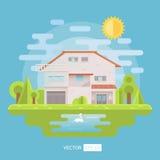 Casa lisa com jardim e lago Fotografia de Stock