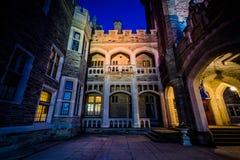 Casa Loma przy nocą, w środku miasta Toronto, Ontario Zdjęcie Royalty Free