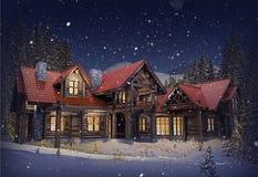 Casa luxuosa do log Fotografia de Stock Royalty Free