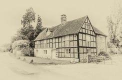 Casa más grosera vieja del estilo con efecto del vintage Fotografía de archivo libre de regalías