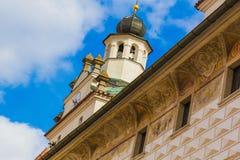 Casa medieval en la ciudad de Cesky Krumlov, República Checa fotografía de archivo