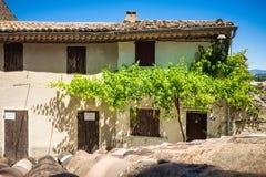 Casa Mediterranea con la pianta ed il cielo blu del vino Immagine Stock