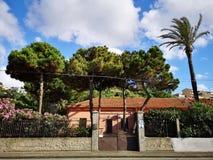Casa Mediterranea di stile con gli alberi ed il giardino Immagini Stock