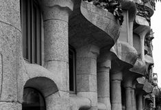 Casa Milà - Facade Detail - Barcelona, Spain. Stock Photo