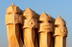 Casa Mila by Antoni Gaudi - roof top - Barcelona Royalty Free Stock Photos