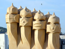 Casa Mila Barcelona Stock Afbeeldingen