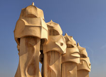 Casa Mila chimneys Stock Photo