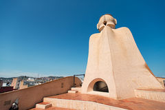 Casa Mila chimneys created by Gaudi Barcelona Spain Royalty Free Stock Photo