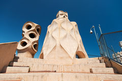 Casa Mila with chimneys shaped anthropomorphic soldiers created Royalty Free Stock Photography