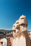 Casa Mila chimneys shaped as anthropomorphic soldiers created by Royalty Free Stock Photo