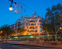 Casa Mila at dusk Stock Image