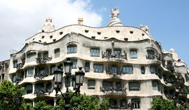 Casa Mila in L'Eixample, Barcelona Royalty Free Stock Photo