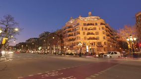 Casa Mila La Pedrera of Antoni Gaudi in Barcelona Time Lapse from Day to Night. Placed in the golden mile at Passeig de Gracia, the Casa Mila is one of the most stock video