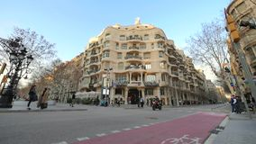 Casa Mila La Pedrera of Antoni Gaudi in Barcelona Time Lapse at Sunset. Placed in the golden mile at Passeig de Gracia, the Casa Mila is one of the most stock video