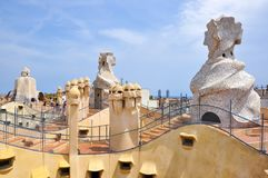 Casa Mila La Pedrera house rooftop, Barcelona, Spain royalty free stock image