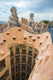 Casa Mila Rooftop Sculptures and Courtyard Stock Photo