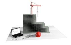 Casa modelo bajo construcción, ordenador, casco, visualización 3D Fotos de archivo libres de regalías