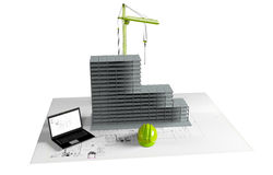 Casa modelo bajo construcción, ordenador, casco, visualización 3D Fotografía de archivo libre de regalías