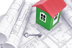 Casa modelo con los dibujos de estudio Foto de archivo