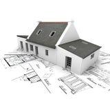 Casa modelo de la configuración encima de modelos stock de ilustración