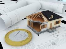 Casa modelo e euro- moeda Fotografia de Stock Royalty Free
