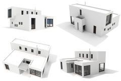 casa moderna 3d, aislada en el fondo blanco libre illustration