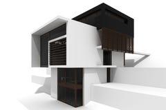 casa moderna 3d isolata su bianco Fotografia Stock Libera da Diritti