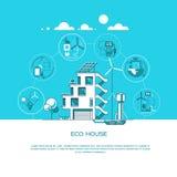 Casa moderna amistosa de Eco Arquitectura verde El panel solar, turbina de viento, tejado verde Ilustración del vector Imagenes de archivo