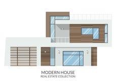 A casa moderna, bens imobiliários assina dentro o estilo liso Ilustração do vetor Fotografia de Stock
