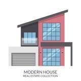 A casa moderna com garagem, bens imobiliários assina dentro o estilo liso Ilustração do vetor Imagem de Stock