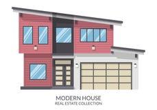 A casa moderna com garagem, bens imobiliários assina dentro o estilo liso Ilustração do vetor Imagens de Stock