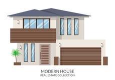 A casa moderna com garagem, bens imobiliários assina dentro o estilo liso Ilustração do vetor Fotografia de Stock