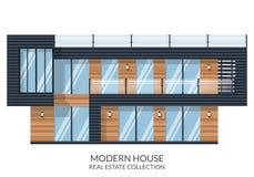 A casa moderna com telhado grande, bens imobiliários assina dentro o estilo liso Ilustração do vetor Fotografia de Stock Royalty Free