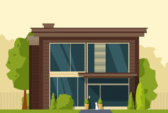 Casa moderna com um cão próximo Fotografia de Stock