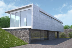 Casa moderna con el jardín, visión exterior. Foto de archivo libre de regalías