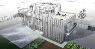 Casa moderna con el jardín y el garaje Una imagen de trama tridimensional con una pendiente lisa entre el estilo regular y el téc Imagen de archivo libre de regalías