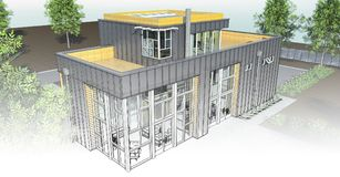 Casa moderna con el jardín y el garaje Una imagen de trama tridimensional con una pendiente lisa entre el estilo regular y el téc Fotos de archivo