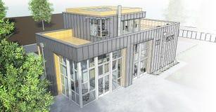 Casa moderna con el jardín y el garaje Una imagen de trama tridimensional con una pendiente lisa entre el estilo regular y el téc Fotos de archivo libres de regalías