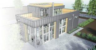 Casa moderna con el jardín y el garaje Una imagen de trama tridimensional con una pendiente lisa entre el estilo regular y el téc Foto de archivo libre de regalías