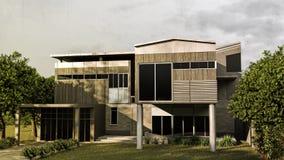 Casa moderna con il giardino convenzionale enorme illustrazione vettoriale