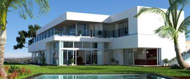 Casa moderna con il giardino e lo stagno Immagini Stock