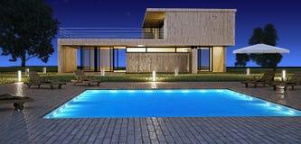 Casa moderna con il raggruppamento Fotografie Stock