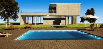 Casa moderna con il raggruppamento Fotografia Stock Libera da Diritti
