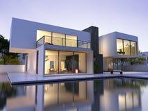 Casa moderna con la piscina Fotos de archivo