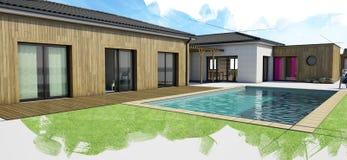 Casa moderna con la piscina, visión exterior Imagen de archivo libre de regalías